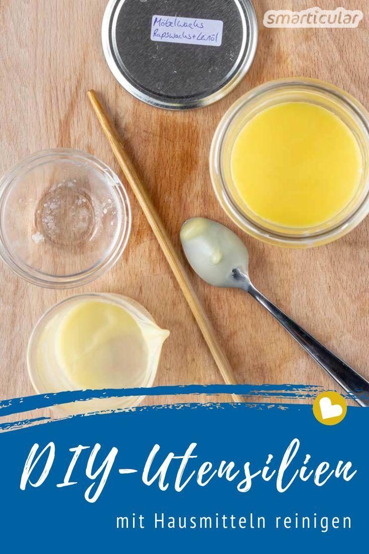 Bei der Herstellung eigener Kosmetik und Putzmittel verbleiben oft Wachsreste und Fett an den Utensilien. Wie du sie einfach mit Hausmitteln reinigen kannst, erfährst du hier.