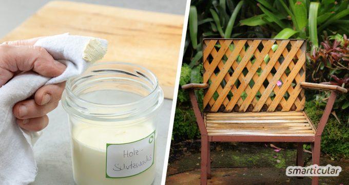 Mit einem selbst gemachten Holzschutz-Anstrich aus Öl und Wachs kannst du deine Gartenmöbel vor Sonne und Regen schützen und sie lange schön erhalten.