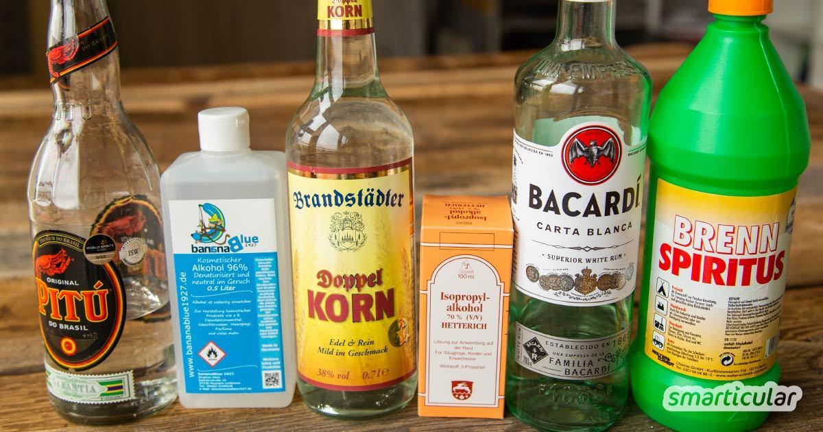 Mit dem richtigen Alkohol für jeden Zweck kannst du viele Kosmetik- und Reinigungsprodukte selbst herstellen. Inklusive Umrechner für die Alkoholkonzentration!