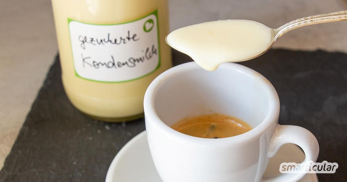 Statt Milchmädchen von Nestlé in der Plastiktube zu kaufen, kannst du gezuckerte Kondensmilch ohne Verpackungsmüll ganz einfach selber machen.