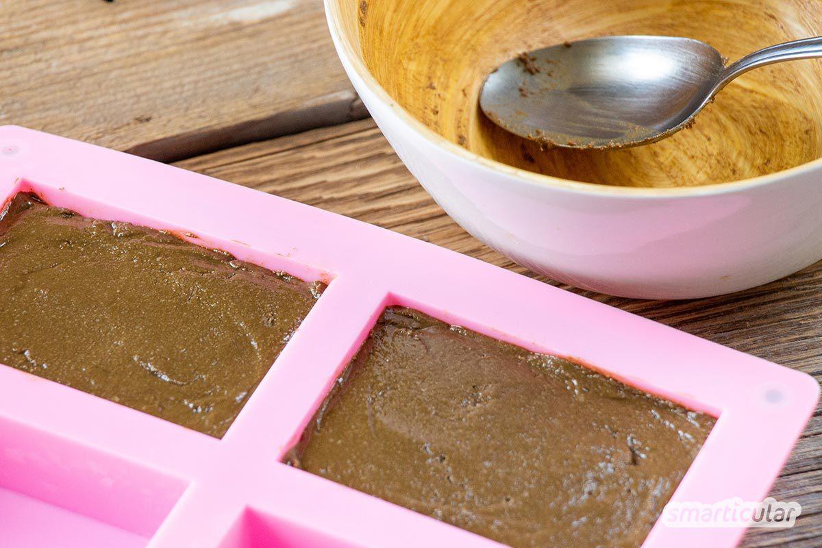 Statt Seife: Ein Waschstück zur sanften Gesichtsreinigung lässt sich einfach selber machen. Es pflegt, schäumt ebenso wie Seife und kommt ganz ohne Verpackungsmüll aus.
