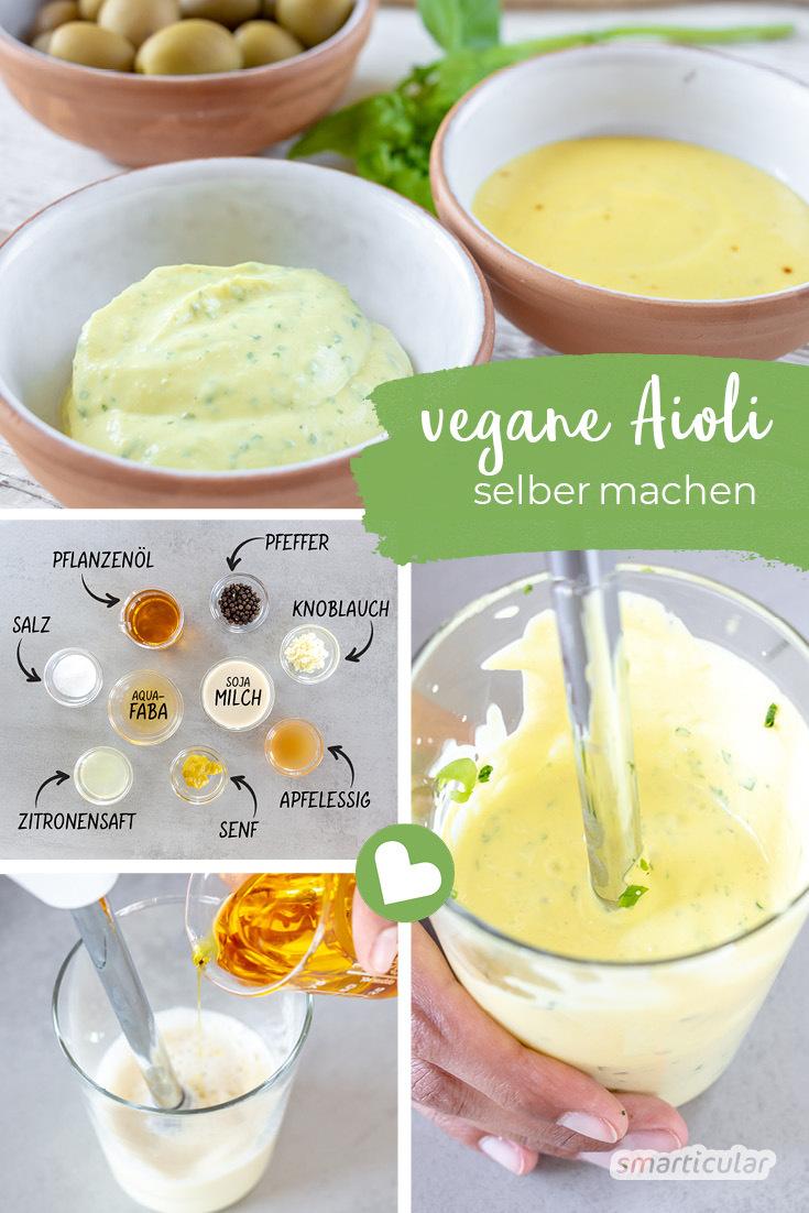Ein veganer Aioli-Dip ist einfach und mit wenigen Handgriffen schnell zubereitet. Auch ohne Ei ist Aioli eine cremige und vor allem köstliche Möglichkeit, Speisen mit kräftiger Knoblauchwürze abzurunden.