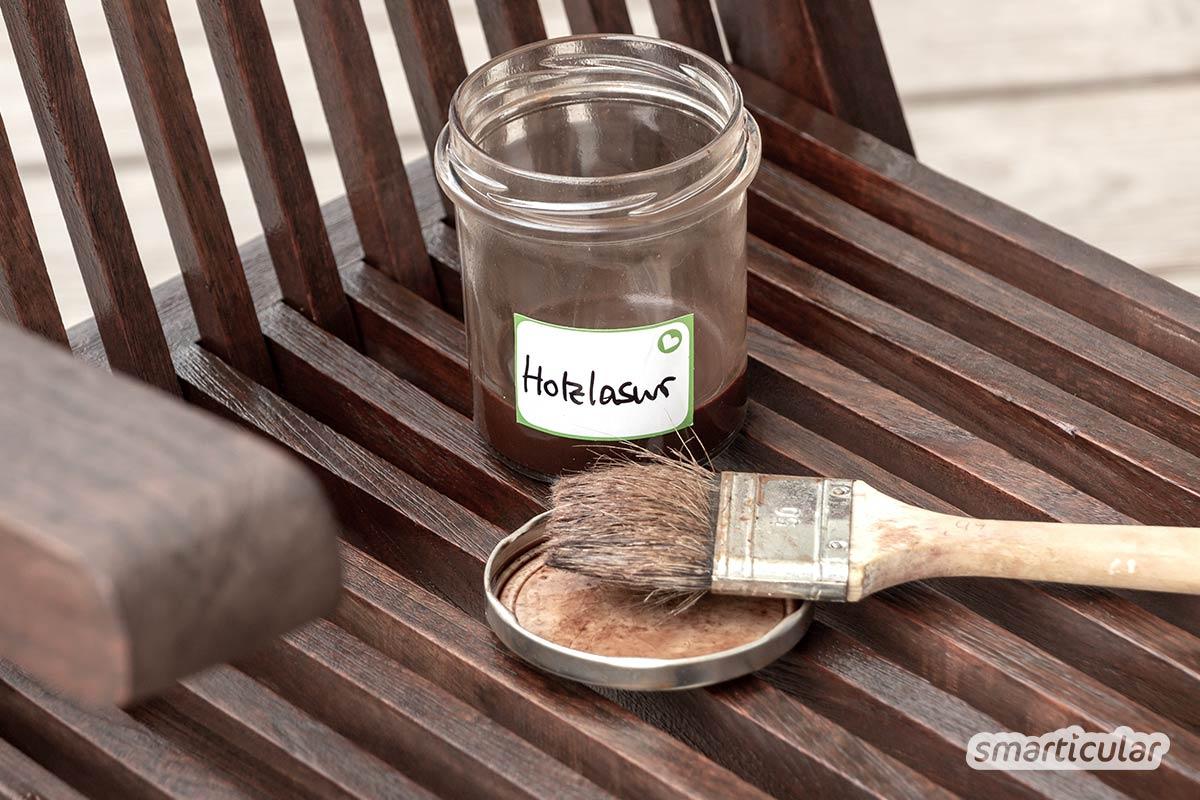 Eine natürliche Holzschutzlasur aus Leinölfirnis und Pigmenten frischt die Gartenmöbel auf und schützt sie gleichzeitig - viel besser als ein teurer Anstrich aus dem Handel!