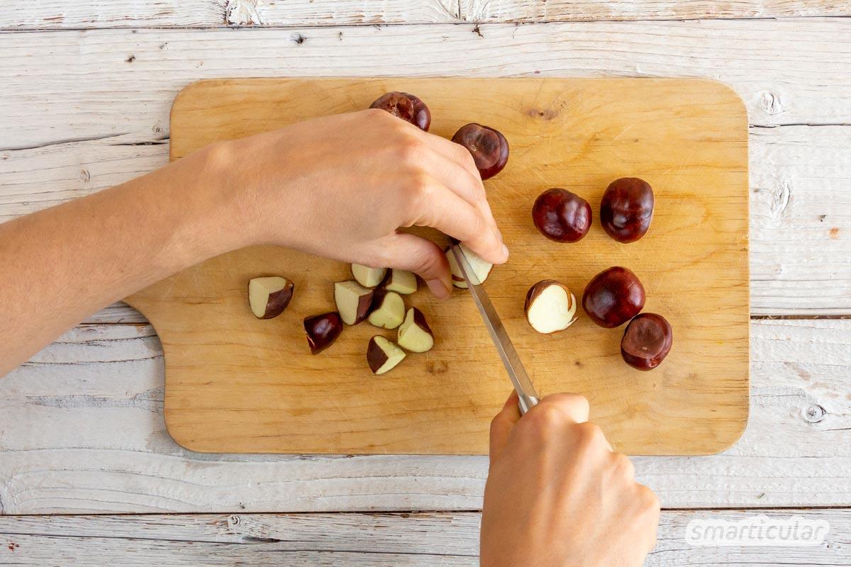 Waschmittel liegt quasi auf der Straße: Aus den Früchten der Rosskastanie kannst du ganz leicht Kastanien-Waschmittel selber machen - gut zu Haut und Umwelt!