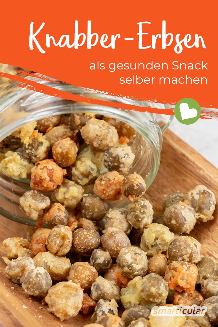 Fertige Snacks sind dir zu ungesund und hinterlassen dir zu viel Verpackungsmüll? Mit diesem Erbsen-Snack knabberst du lecker, gesund und umweltfreundlich.