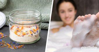 Schaumbad selber machen in wenigen Minuten - kein Problem mit einem DIY-Badepulver. Für ein entspannendes Bad oder als kleines Last-Minute-Geschenk.