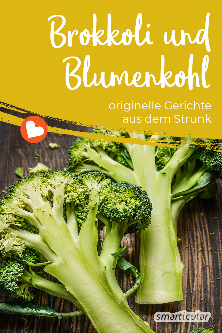 Der Brokkoli- und Blumenkohlstrunk ist ebenso genießbar wie die anderen Teile der Kohlsorten und steckt voller wertvoller Vitalstoffe - Grund genug, um aus dem Strunk leckere Gerichte zu zaubern!