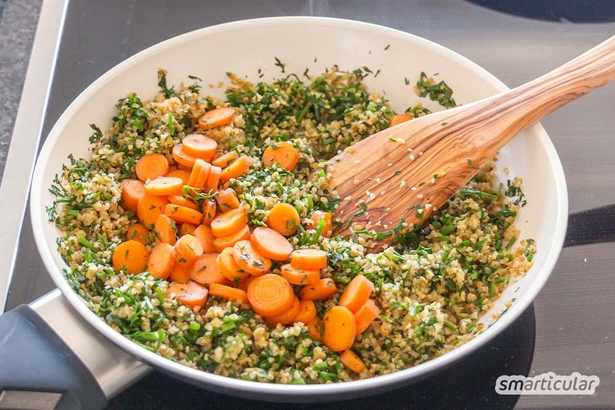 Gemüsereste wie Blattgrün und Obstkerne sinnvoll verwerten und leckere Gerichte daraus kochen, anstatt sie wegzuwerfen: So verarbeitest du die Vitalstoff-Quellen.