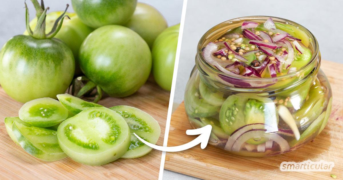 Grüne Tomaten nicht wegwerfen, sondern einlegen und später im Jahr genießen! Mit diesem Rezept verwertest du unreife Tomaten einmal anders: Herzhaft und köstlich frisch.