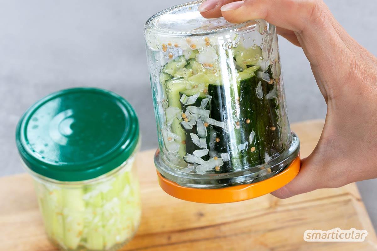 Mit diesem Rezept für Schüttelgurken kannst du die Gurkenernte schnell in selbst eingelegte saure Gurken verwandeln. Sie werden ohne Kochen zubereitet und sind nach wenigen Stunden fertig.
