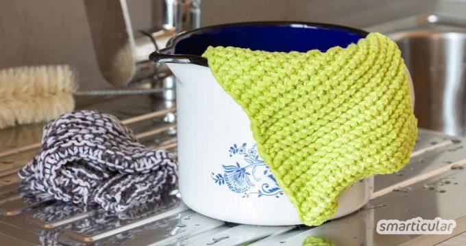 Spültücher stricken für den Eigengebrauch oder als nachhaltiges Geschenk: So einfach strickst du einen Baumwoll-Spüllappen.