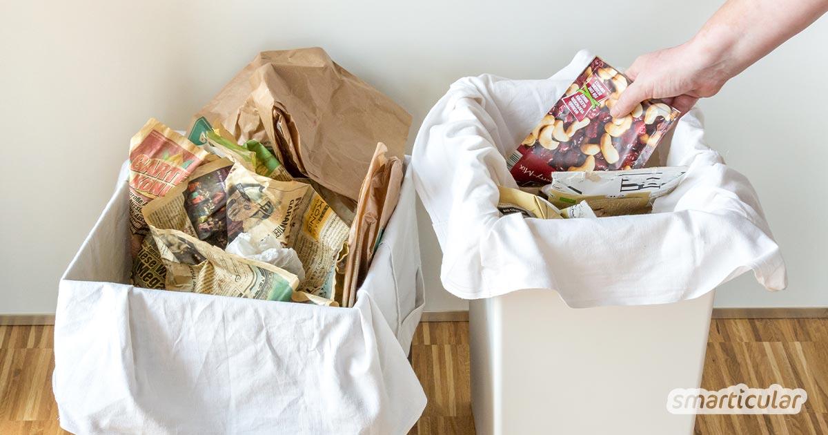 Mit einem Mehrweg-Müllsack transportierst du Altpapier und Plastikmüll von der Wohnung zu den Mülltonnen. Du brauchst nur ein altes Bettlaken.