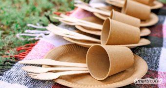 Bio-Einweggeschirr aus Palmblättern, Zuckerrohr oder Kleie ist biologisch abbaubar und hilft, große Mengen Plastikmüll zu vermeiden. In der Regel bestehen die innovativen Alternativen aus Produktionsabfällen und sind somit doppelt nachhaltig.