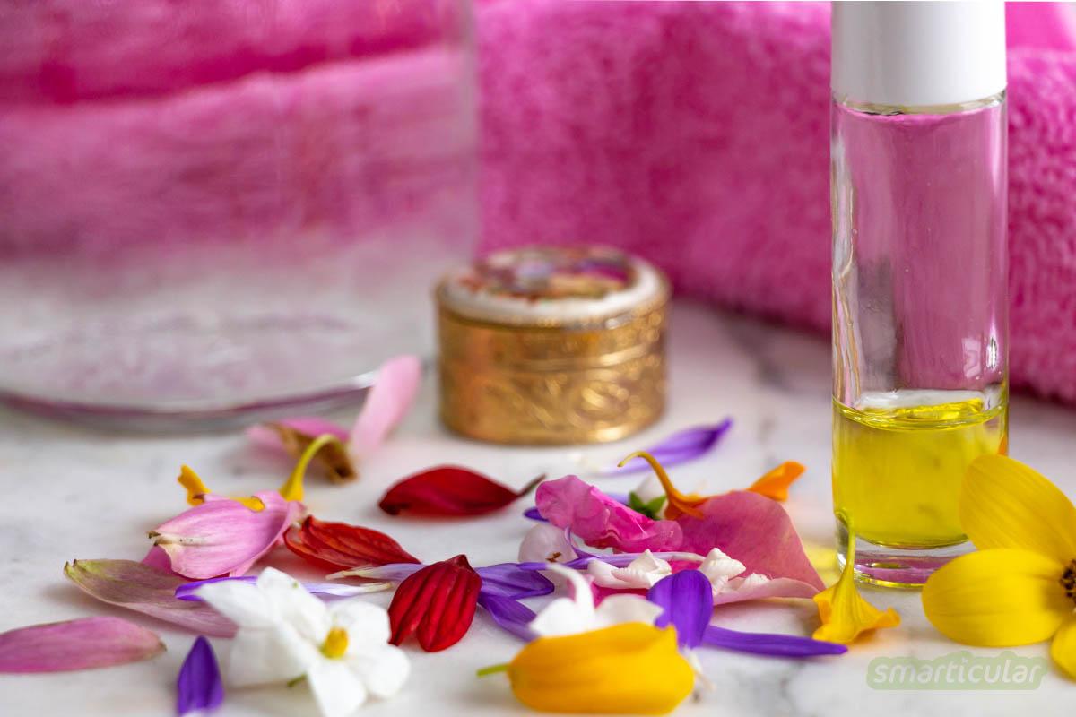 Um Waschmittel, Seife und Massageöl natürlich zu beduften oder ein individuelles Parfum herzustellen, kannst du Duftmischungen aus ätherischen Ölen selbst herstellen.