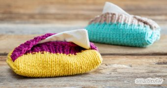 TaTüTas - also Taschentüchertaschen - kann man einfach und phantasievoll aus Wollresten stricken. Sie sind schnell fertig und auch für Anfänger geeignet.