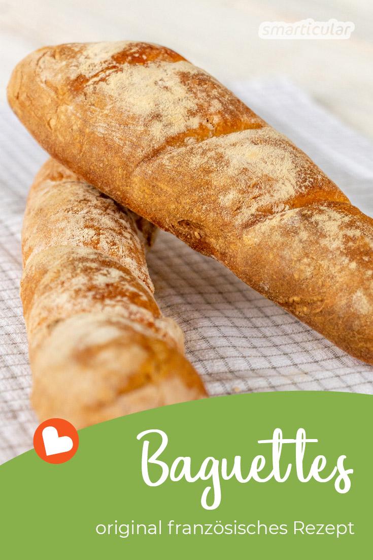 Baguettes selber zu backen, gelingt mit diesem einfachen Rezept. Freu dich auf das französische Brot frisch zum Frühstück!