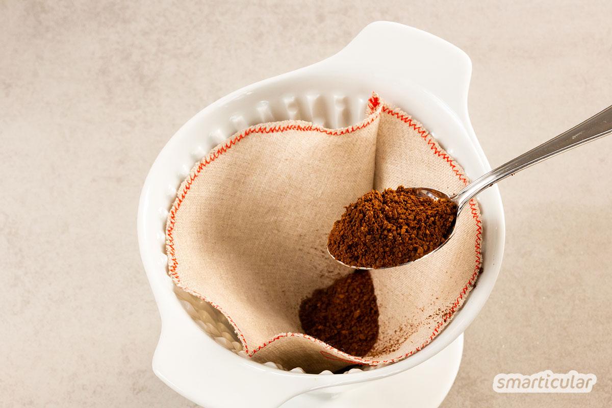 Einweg-Filtertüten für die Kaffeemaschine und den dadurch entstehenden Müll kannst du leicht vermeiden. Nähe einfach einen wiederverwendbaren Kaffeefilter aus Stoff!