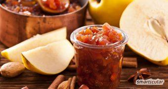 Fruchtig-feuriges Quittenchutney mit Äpfeln, Ingwer und Chili ist genau das Richtige für die herbstliche Jahreszeit und im Nu zubereitet.