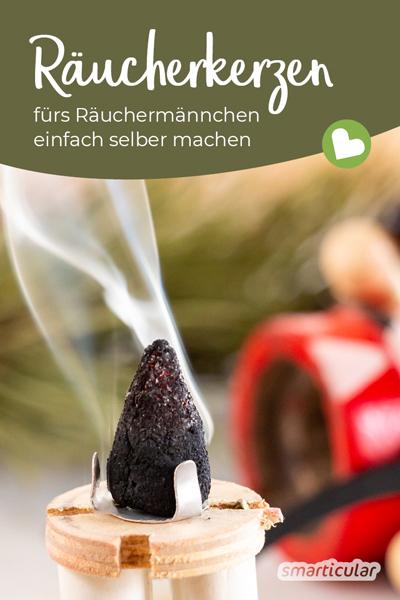 In der dunklen Jahreszeit sorgen Räucherkerzen für angenehmen Duft und eine gemütliche Atmosphäre. Statt sie zu kaufen, kannst du die kleinen Kegel fürs Räuchermännchen einfach selber machen.
