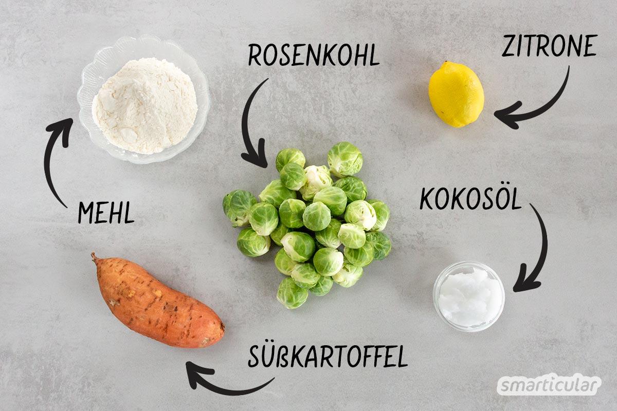 Mit diesem Rezept schmeckt Rosenkohl einfach jedem! Mit nur wenigen Zutaten ist dieser Rosenkohl-Auflauf mit Süßkartoffeln schnell und einfach gemacht und schmeckt außergewöhnlich gut.