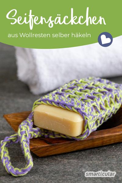 Ein Seifensäckchen zu häkeln, kann eine tolle Lösung sein, um ein festes Stück Seife im Badezimmer aufzuhängen. Häkele es dir in wenigen Schritten selbst!