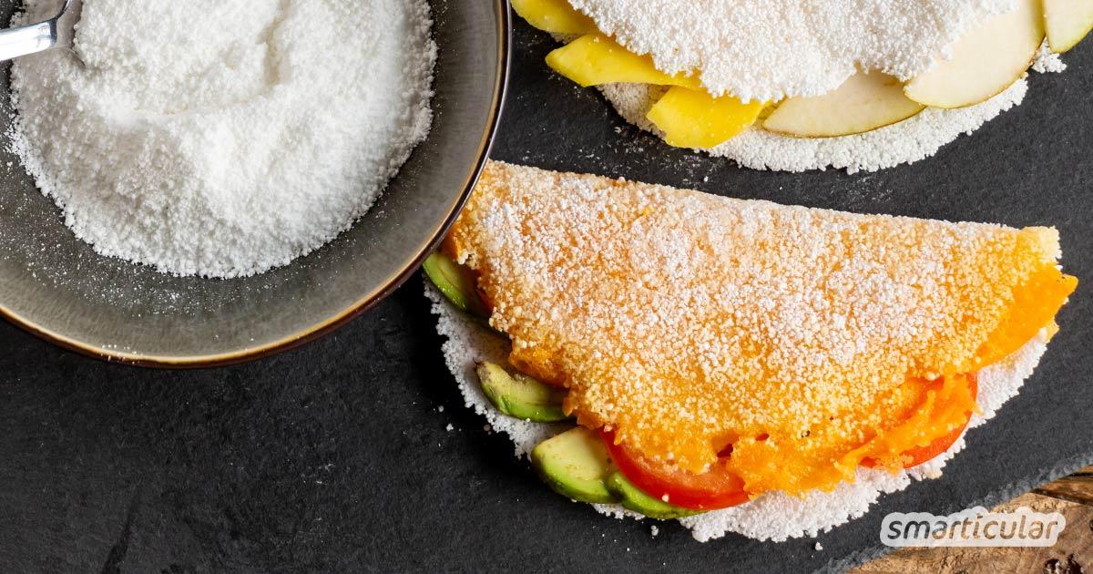 Mit Tapiokastärke lassen sich ganz einfach Tapioka-Wraps selber machen. Die erstaunlichen Fladen sind kalorienarm, glutenfrei und vegan und lassen sich herzhaft und süß füllen.
