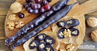 Tschurtschchela ist eine fruchtig-nussige Konfekt-Spezialität aus Georgien. Du kannst die Süßigkeit ohne Zucker einfach aus Walnüssen und Traubensaft selber machen.