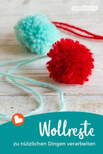Wollreste zu verarbeiten macht Spaß! In vielen kleinen Projekten, die wenig Zeit kosten, kannst du Wollreste in praktischen und dekorativen Dingen verwerten.