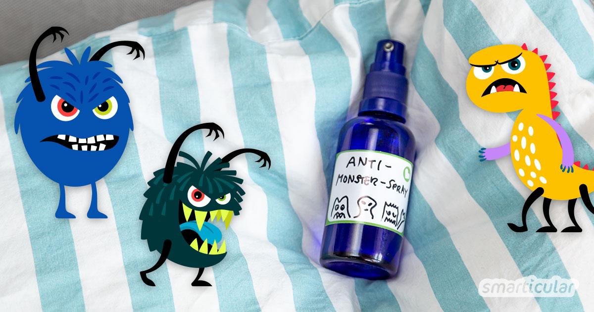 Mit einem selbst gemachten Anti-Monster-Spray lassen sich schlafraubende Geister und andere kleine Monster blitzschnell aus dem Kinderzimmer vertreiben.