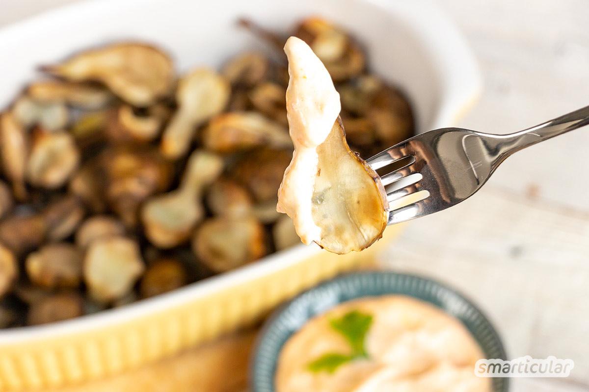 Der regionale Topinambur ist reich an Proteinen und zudem sehr kalorienarm. Im Ofen zubereitete Topinamburknollen sind schnell und einfach auf dem Tisch und ergeben ein köstliches kleines Abendessen.