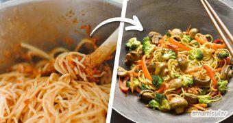 Übrig gebliebene Nudeln oder Reis können mit diesem Grundrezept für eine köstliche Restepfanne mit Gemüse noch leicht in eine leckere Mahlzeit verwandelt werden.