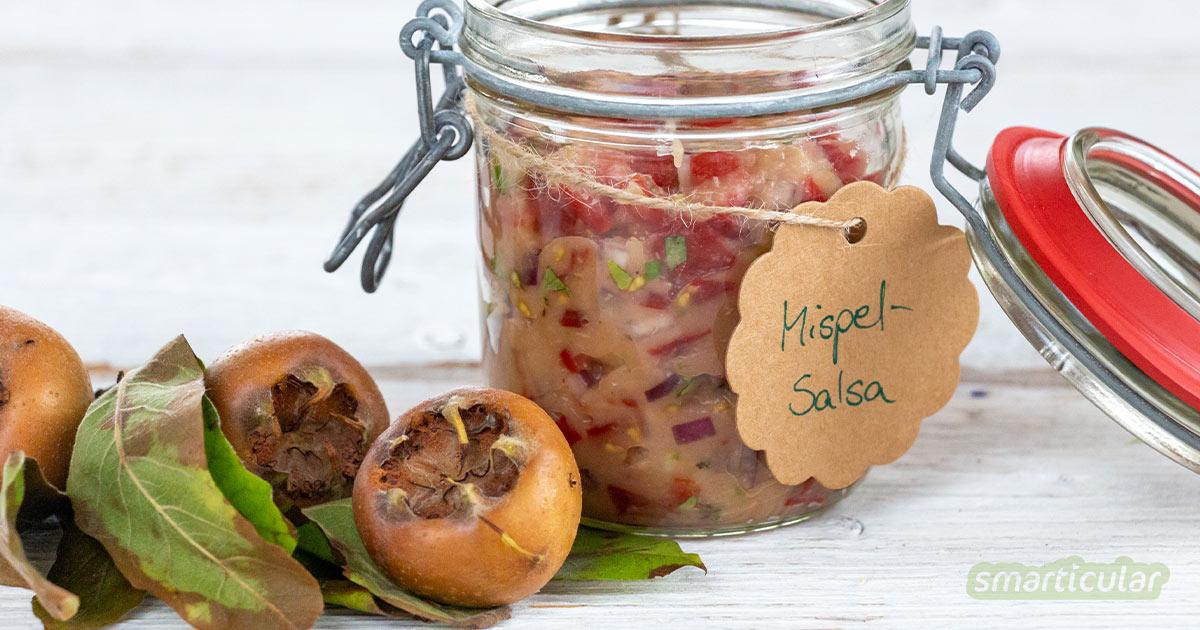 Auf die Mispel, fertig, los! Die heimische Mispelfrucht ist die perfekte Zutat für Marmeladen, Mus oder Salsa. So einfach gelingt der köstliche Mispel-Salsa-Dip!