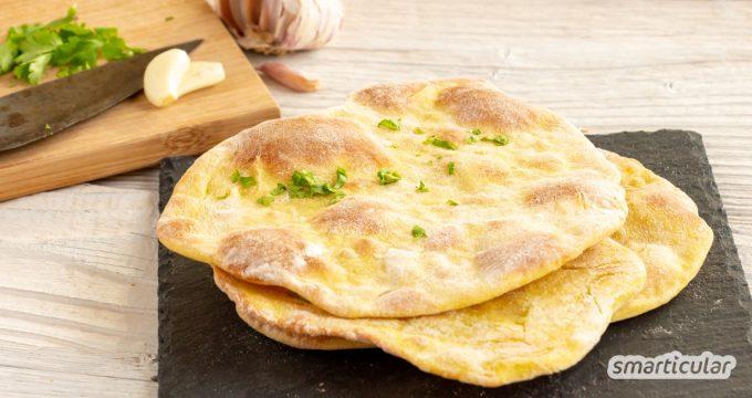 Original indisches Naan-Brot in einer veganen Variante kannst du einfach mit wenigen Zutaten einfach selbst backen - die Zutaten hast du sicher alle zu Hause.