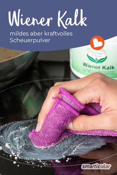 Wiener Kalk ist ein natürliches Scheuerpulver aus Gesteinsmehl, das früher zum Putzen und Polieren verwendet wurde. Als mildes Scheuermittel reinigt es auch heute noch, ohne Kratzer zu hinterlassen.