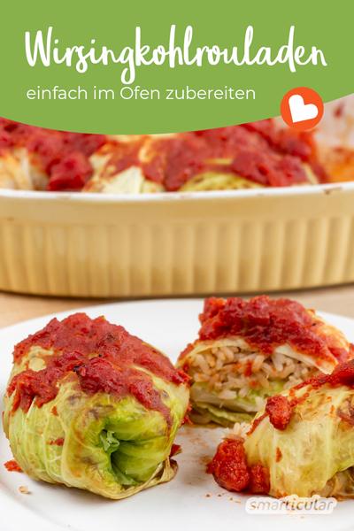 Köstliche Wirsing-Kohlrouladen ohne Fleisch lassen sich besonders einfach im Ofen zubereiten - ohne Anbrennen und ohne Wickeln. So gelingen die veganen Krautwickel!