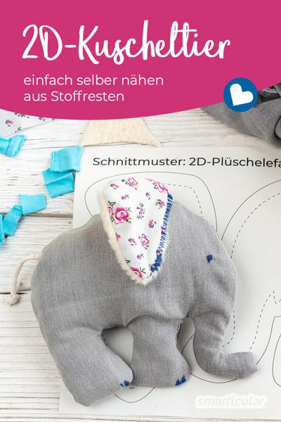 Ein individuelles 2D-Kuscheltier lässt sich ganz einfach nähen. So machst du ein nachhaltiges und fast kostenloses Geschenk selber - nicht nur für Kinder.