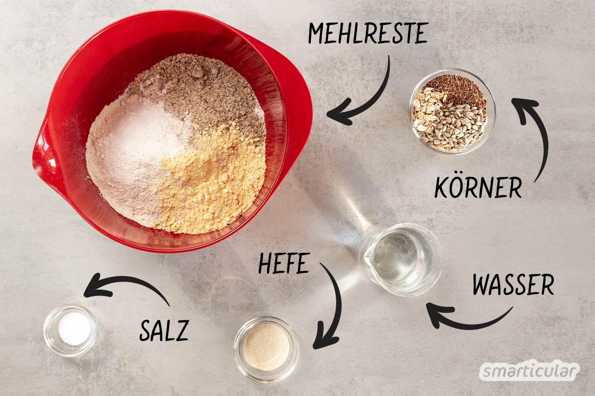 Alle Mehlreste zusammenschütten und ein Brot daraus backen! Das funktioniert, wenn du ein paar grundlegende Tipps zur Hefeteigherstellung beachtest.