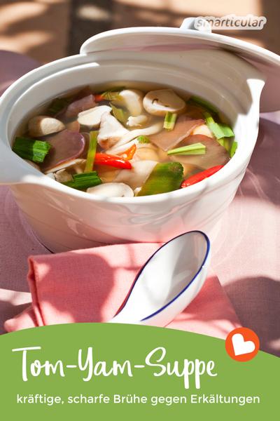 Die kräftige Tom-Yam-Suppe besteht aus gesunden, immunstärkenden Zutaten, die genau wie Hühnersuppe Erkältungen vertreiben und den Organismus auf Touren bringen.
