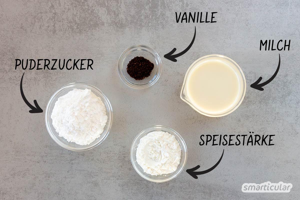 Auch ohne Fertigprodukt lässt sich Vanillesoße leicht selber machen. Mit diesem einfachen Rezept ohne Ei kann die süße Soße auch vegan zubereitet werden.