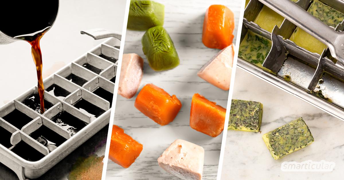 Um Essensreste haltbar zu machen, kannst du sie in Eiswürfelförmchen einfrieren. So stehen dir Obst, Gemüse, Saft und Soßen in handlichen Portionen zur Verfügung.