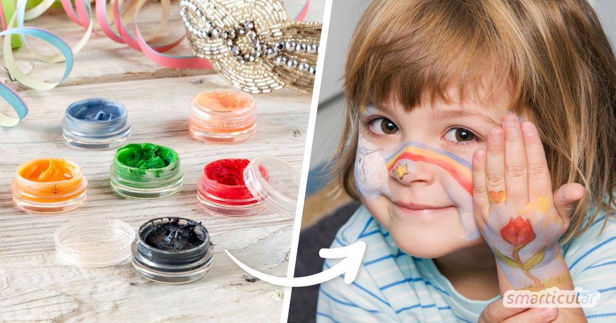 Fasching, Halloween oder Kinderfeste sind kaum denkbar ohne bunt geschminkte Kindergesichter. Die passende ungiftige Kinderschminke kannst du einfach selber machen!
