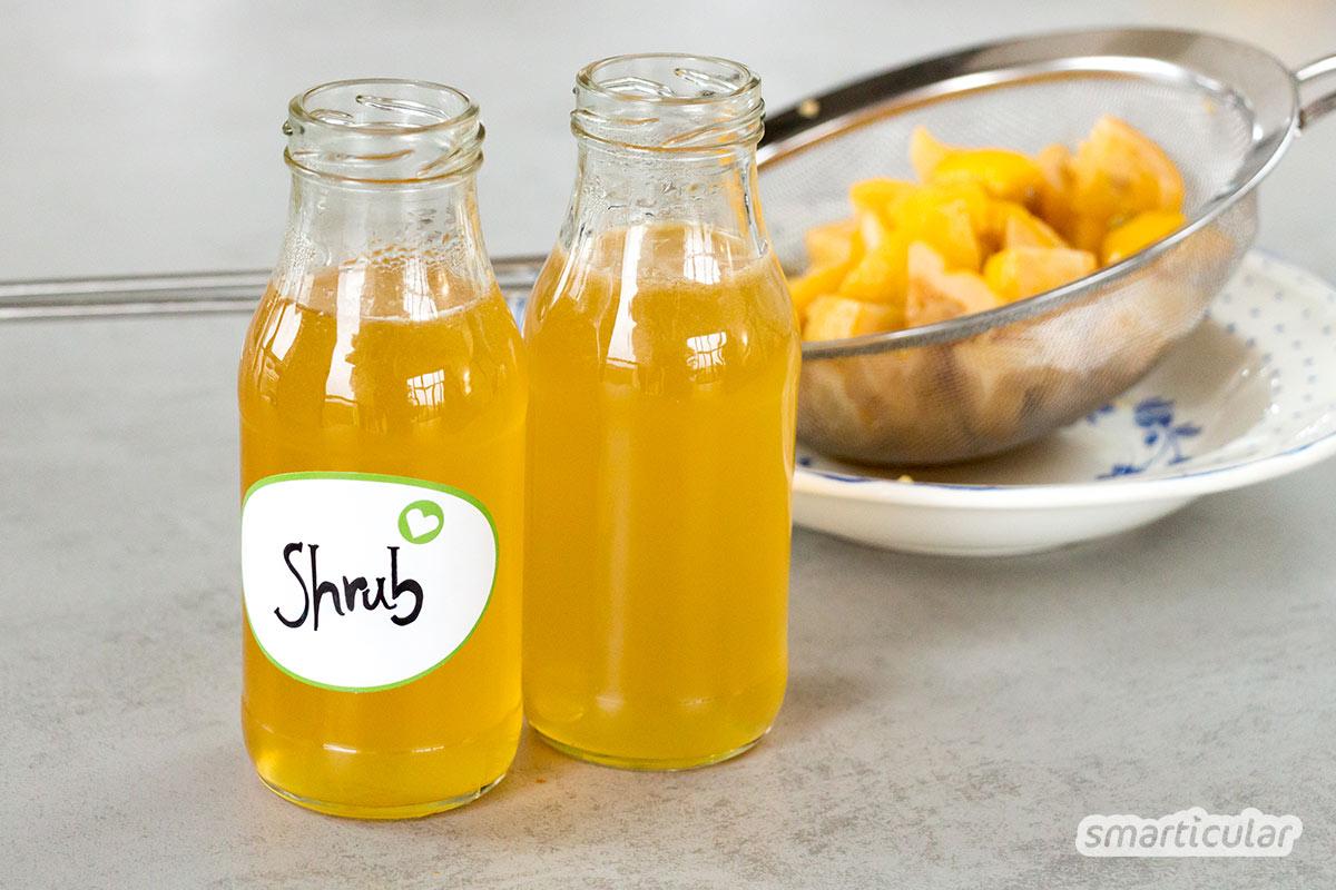 Ein Essig-Sirup, Shrub genannt, ist eine einfache Möglichkeit, um Obst haltbar zu machen. Er schmeckt köstlich als Erfrischungsgetränk, in Cocktails und im Salatdressing.