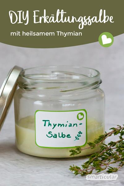 Eine Erkältungssalbe mit Thymian selber zu machen, ist sehr einfach, und du kannst auf unerwünschte Inhaltsstoffe verzichten.