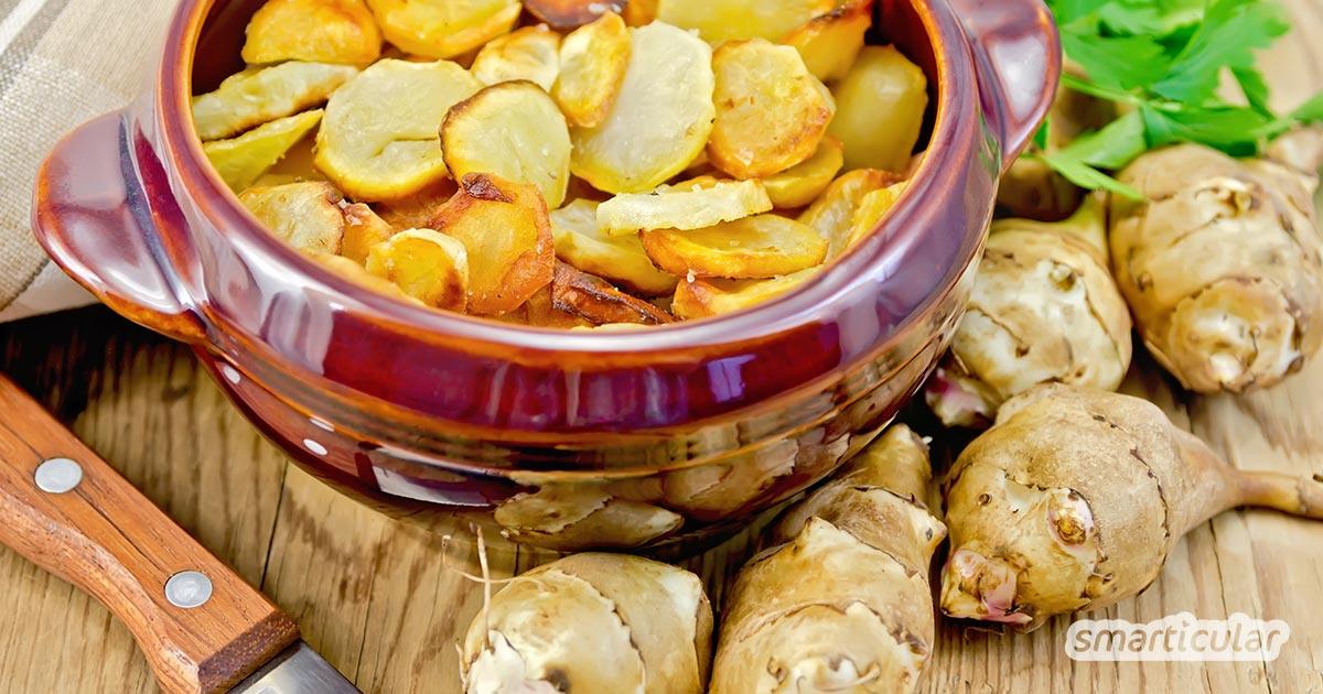 Der kalorienarme Topinambur erfreut sich immer größerer Beliebtheit - er ist reich an Proteinen und zudem regional erhältlich. Abwechslung in deinem Winterspeiseplan bringen diese Rezeptideen!