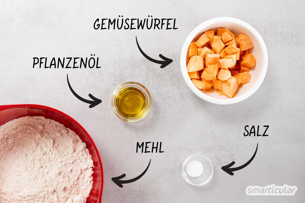 Statt fertige Tortillas zu kaufen, kannst du Wrap-Teig auch ganz einfach selber machen. Dafür werden nur vier Zutaten benötigt: Mehl, Süßkartoffeln, Öl und Salz.