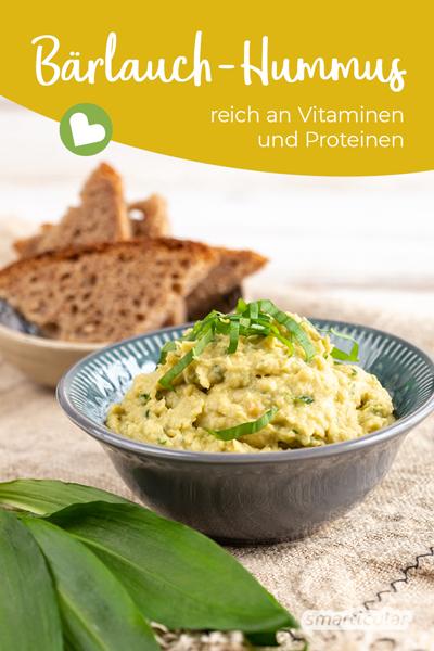 Bärlauch ist ein echtes Superfood und kann sehr abwechslungsreich zubereitet werden. Probiere doch mal einen würzigen Bärlauch-Hummus aus dem vitalstoffreichen Kraut und proteinreichen Kichererbsen!