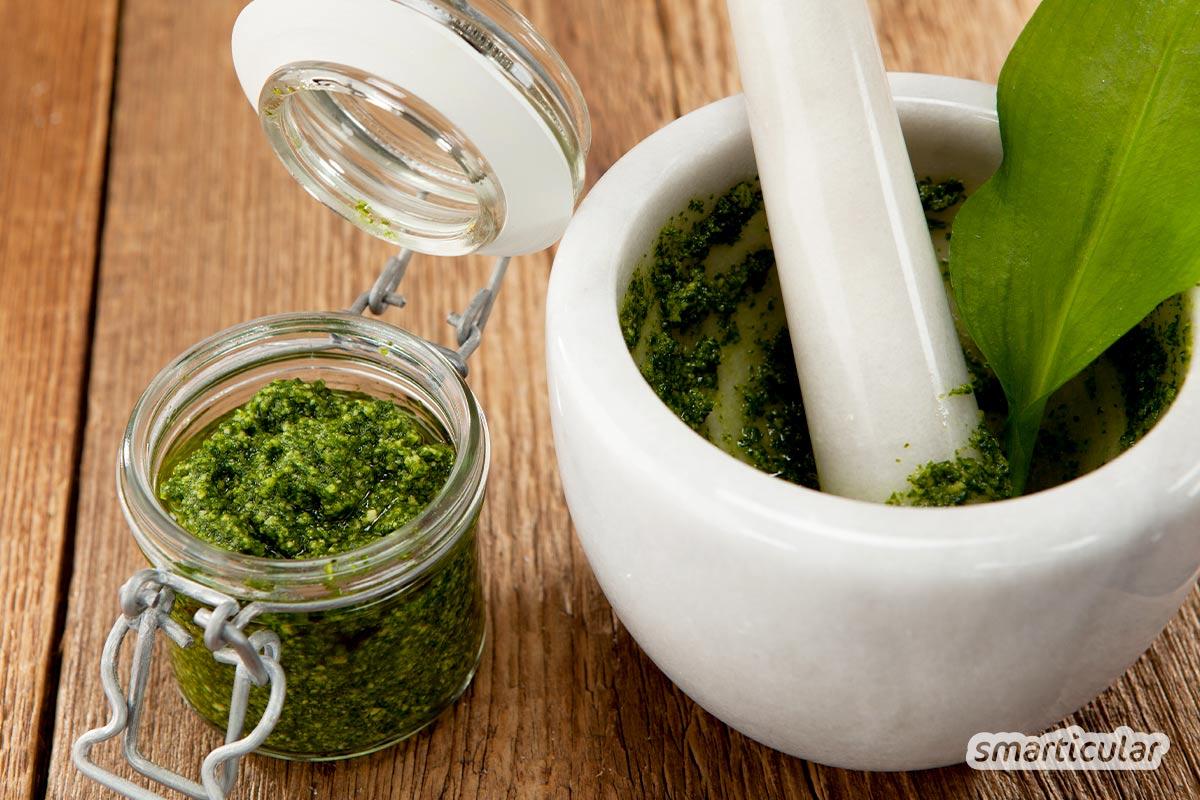 Ein Bärlauchpesto vegan zuzubereiten, ist gar nicht schwer, und das Ergebnis schmeckt köstlich. Nüsse, Kerne und Hefeflocken verfeinern den Geschmack des Pestos.