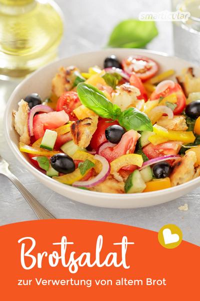 Brotsalat ist nicht nur in Italien eine beliebte Beilage. Mit ein paar Brotresten und etwas Gemüse lässt er sich im Handumdrehen zubereiten!