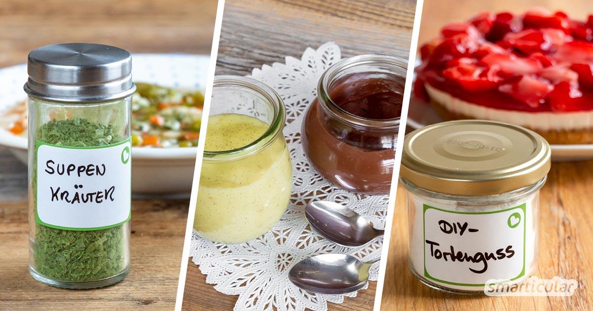 Praktische Fertigmischungen zum Kuchenbacken, für Soßen oder Pudding kann man einfach selber machen und dabei Verpackungsmüll und Geld sparen.