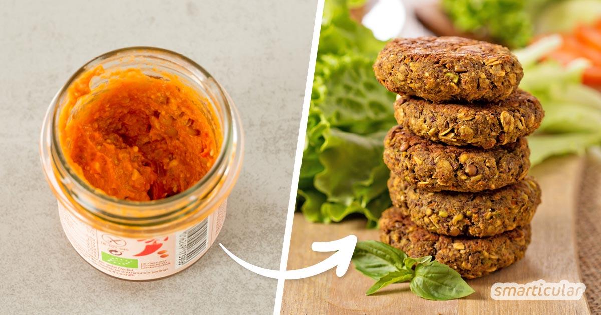 Brotaufstrich-Reste lassen sich toll verwerten: Würze mit ihnen einfach andere Speisen! So landet auch der kleinste Rest auf dem Teller statt in der Tonne.